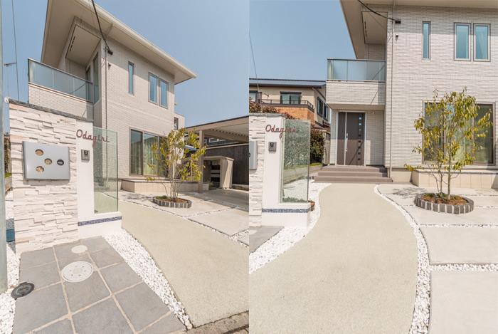 アプローチの中心にはガラスの門袖壁が