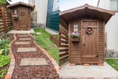 可愛らしい木製の物置をお庭のコーナーに-サムネイル