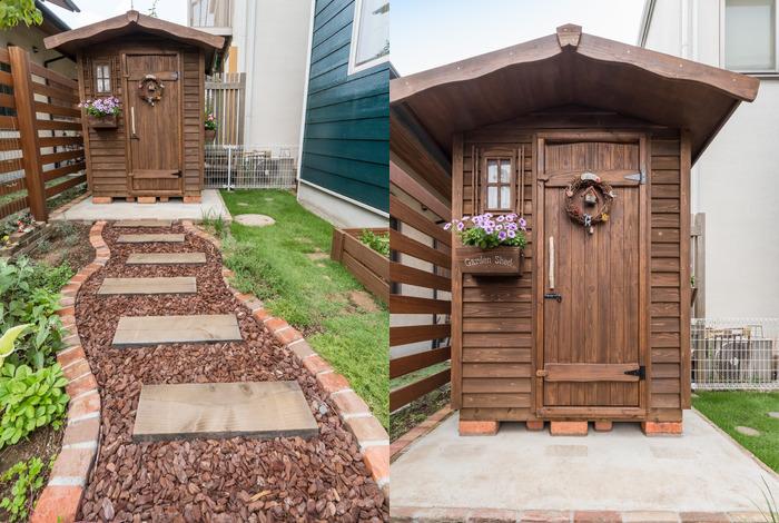 可愛らしい木製の物置をお庭のコーナーに