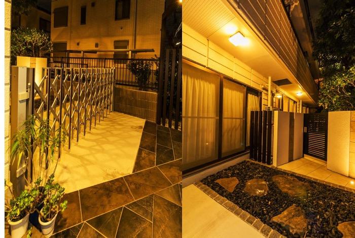 プライベートガーデンへと続くスペースも暖色系の照明のおかげで夜も明るい雰囲気に仕上がっています。